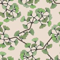 Colorful Hand drawn seamless pattern with ginkgo leaf branch vector