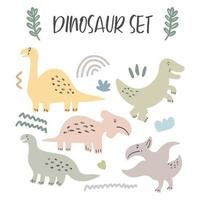 Set of cute dinosaurs isolated on white background for children toys vector