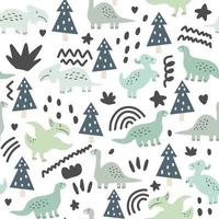 Seamless pattern of cute dinosaurs and floral vector