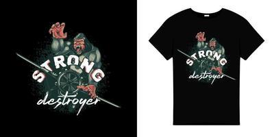 Strong destroyer gorilla t shirt design vector