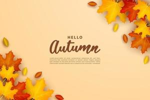 Autumn background with leaf design in the corner. vector