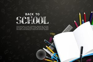 Realistic back to school on black background. vector
