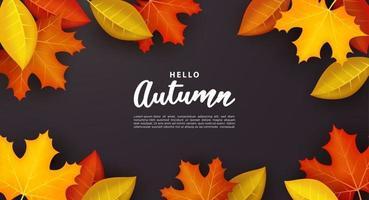 Hello autumn with dry leaf on dark background. vector