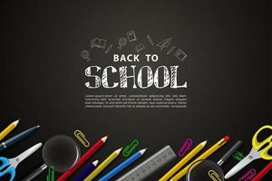 back to school background with colorful learning tools. vector