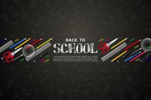 back to school background with colorful school tools. vector