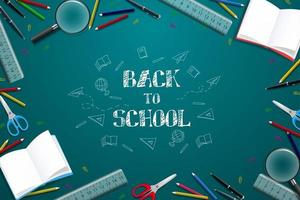 Back to school with colorful pencil and other learning items. vector