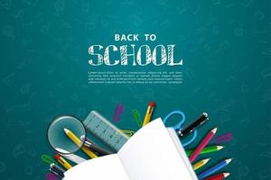 Realistic back to school background vector