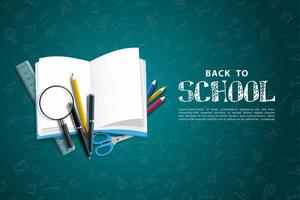 back to school background with books and stationery. vector