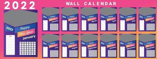 Wall Calendar 2022 week start Monday corporate design template vector