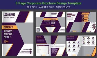8 page minimal business brochure design template, company profile, vector