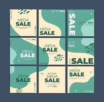 Set social media template for mega sale vector
