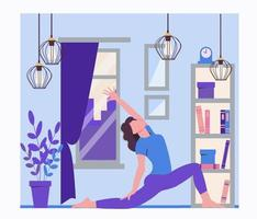 Yoga online. Sports at home during quarantine vector