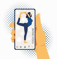 Yoga online. Girl coach on a smartphone screen conducts a lesson live vector