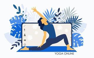 Yoga online. Girl coach on a smartphone screen conducts a lesson live. vector