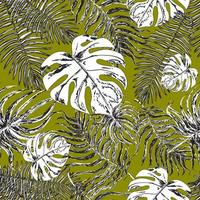 Seamless background with exotic leafs. Monstera plant and palm tree vector