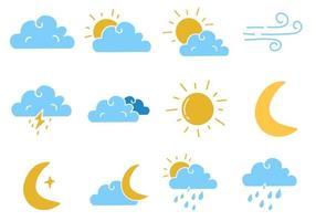 Set of Weather Doodles Vector Illustration