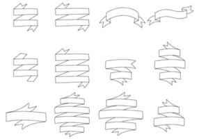 Set of Hand Drawn Ribbon vector