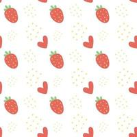 Cute seamless pattern with strawberries. vector
