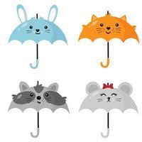 Set of cute animal umbrellas. vector