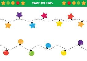 Trace the lines. Cute christmas lights. vector