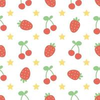 Seamless pattern with strawberry and cherry on white background vector