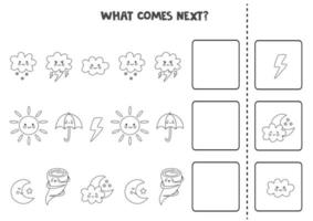 What comes next game with black and white weather elements. vector