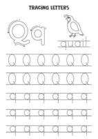 Tracing letters of English alphabet. Black and white worksheet. vector