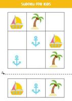 Sudoku game for kids with cartoon summer elements. vector