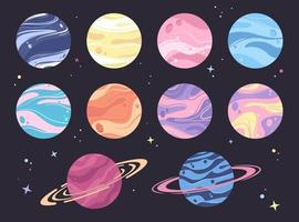 Planets, abstract illustrations vector