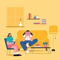 Girls Reading Books in home environment Flat Illustration vector