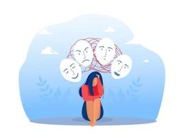Imposter syndrome, masks with happy or sad expressions. vector