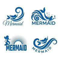 siluetas de sirena con aletas y colas vector de sirena marina