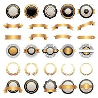 Badges kit. collection shields ribbons various shapes geometrical vector
