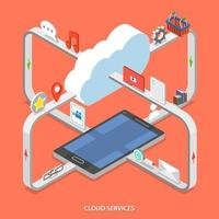 Cloud services flat isometric vector concept.