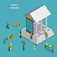 Mobile Banking Flat Isometric Vector Concept.