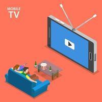Mobile TV isometric flat vector illustration