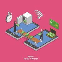 Mobile money transfer flat isometric vector. vector