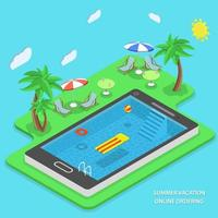 Summer vacation online ordering vector concept.