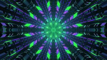 Neon lights in sci fi tunnel 4K UHD 3d illustration photo