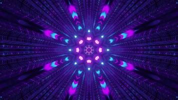 luces de neón de colores en el túnel oscuro 4k uhd ilustración 3d foto