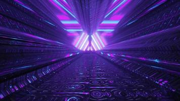 Abstract tunnel with geometric neon design 4K UHD 3d illustration photo