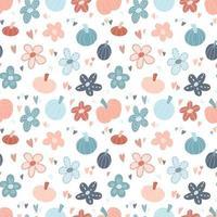 Cute vector seamless pattern background - pumpkins, flowers, hearts