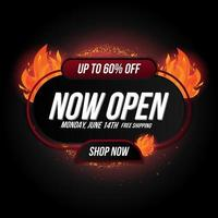 Now open shop or new store red and orange color fire sign on black vector