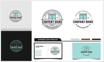 badge and Vintage Furniture table logo with business card template vector