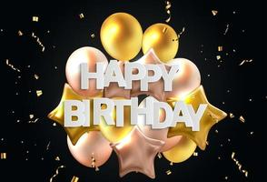 Happy Birthday congratulations banner design with Confetti, Balloons vector