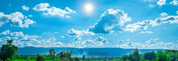 Beautiful blue sky with white clouds and sunlight photo