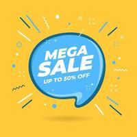 Mega Sale speech bubble shaped banner. vector