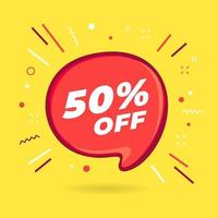 Special offer sale 50 percent off red bubble. vector