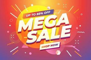Mega Sale banner template design. vector