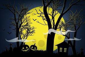 Halloween pumpkins and dark house on yellow moon background. vector